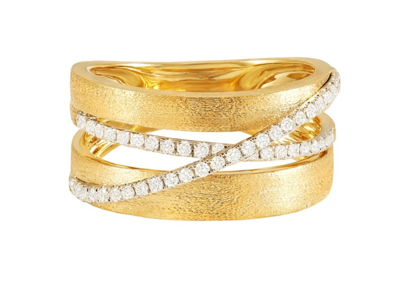 Brushed Gold Diamond Band