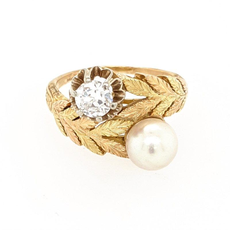 Engraved Pearl and Diamond Ring
