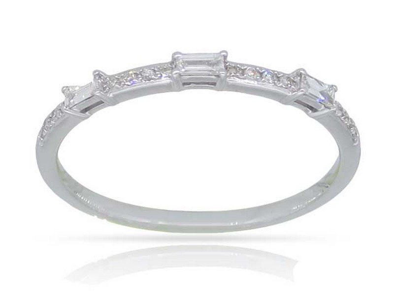 White Gold Baguette Stacking Ring