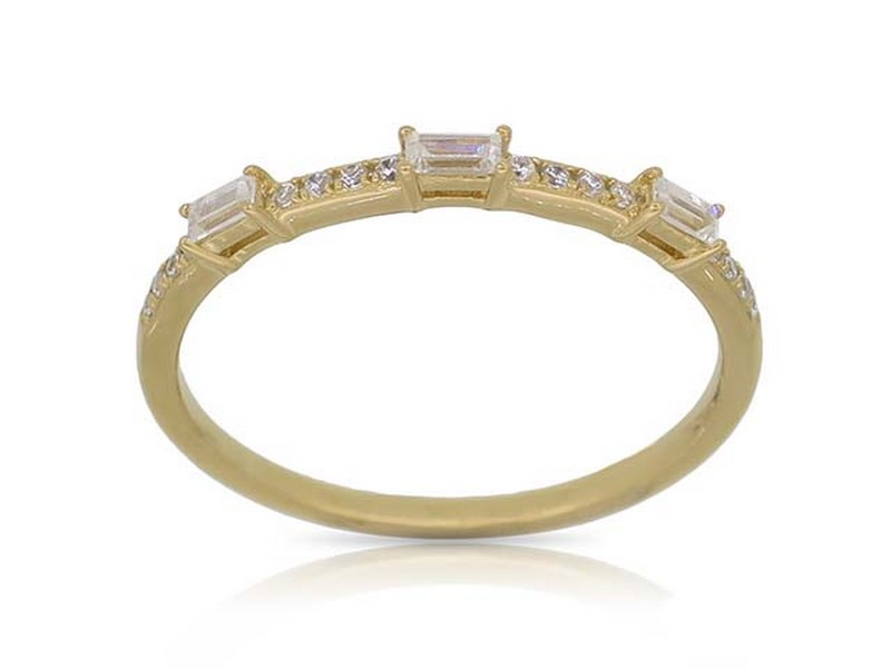 Yellow Gold Baguette Stacking Ring