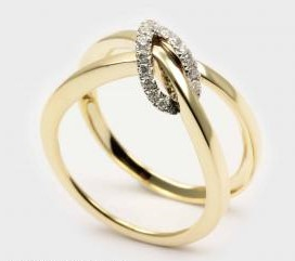Crisscross Diamond Knot Ring