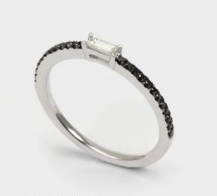 Baguette and Black Diamond Ring
