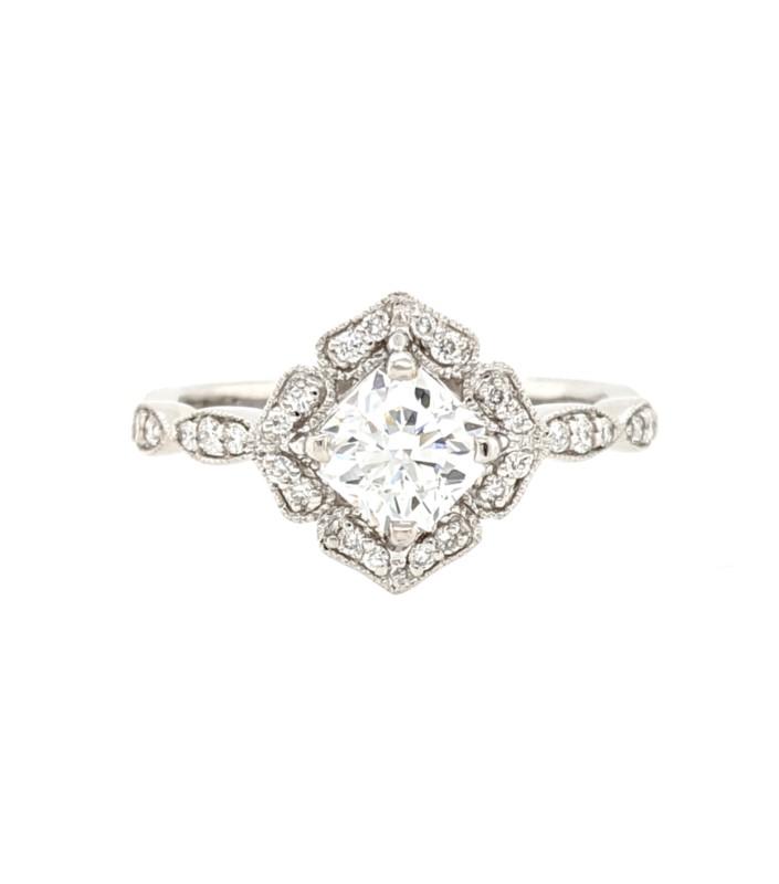 Diamond Scallop Halo Ring