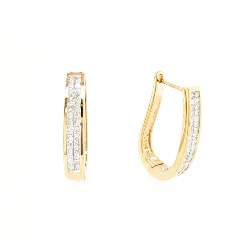 Princess Cut Diamond Hoops