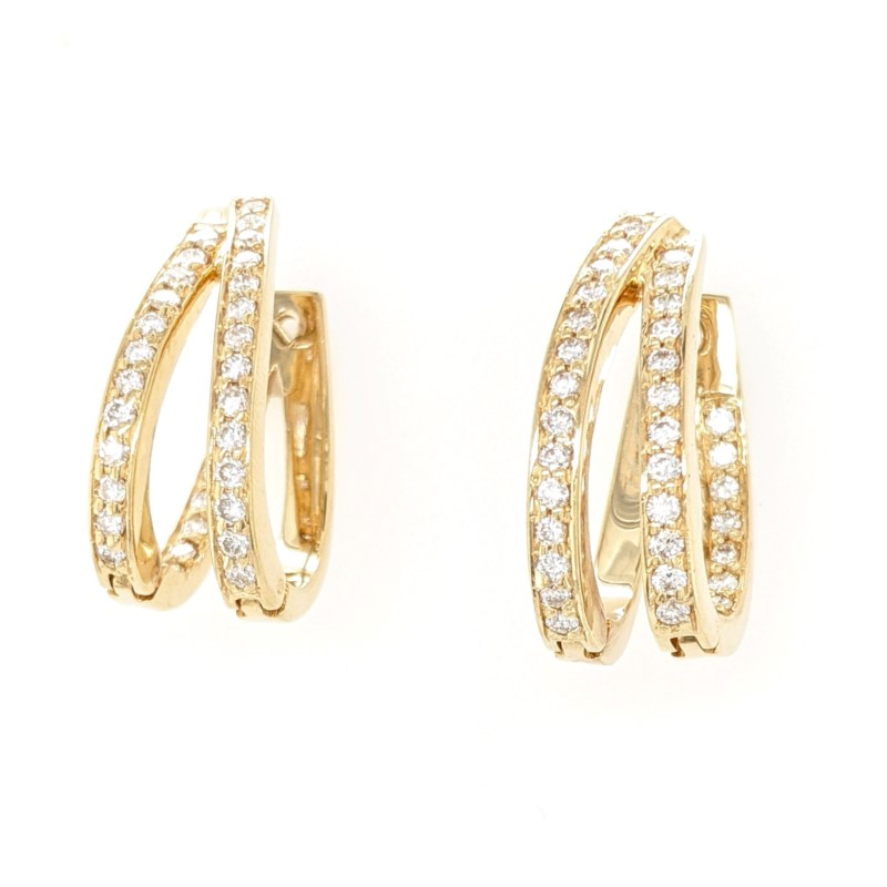 Diamond Double Hoops