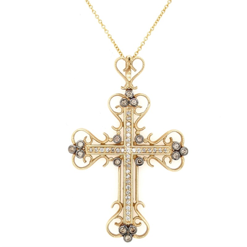 Filigree Diamond Cross Necklace