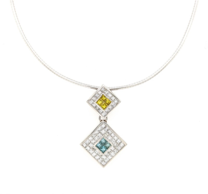 Platinum Diamond Omega Necklace