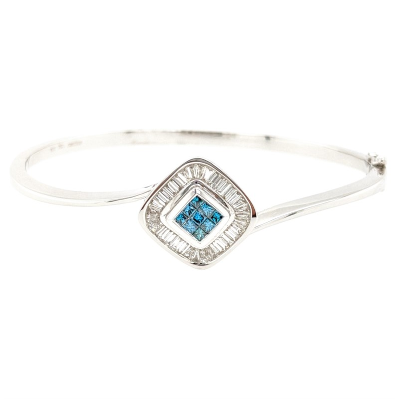 Blue and White Diamond Bangle