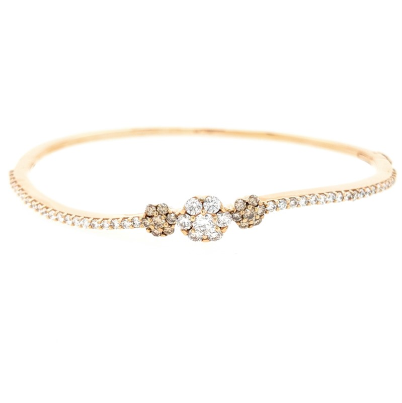 Brown & White Diamond Cluster Bangle