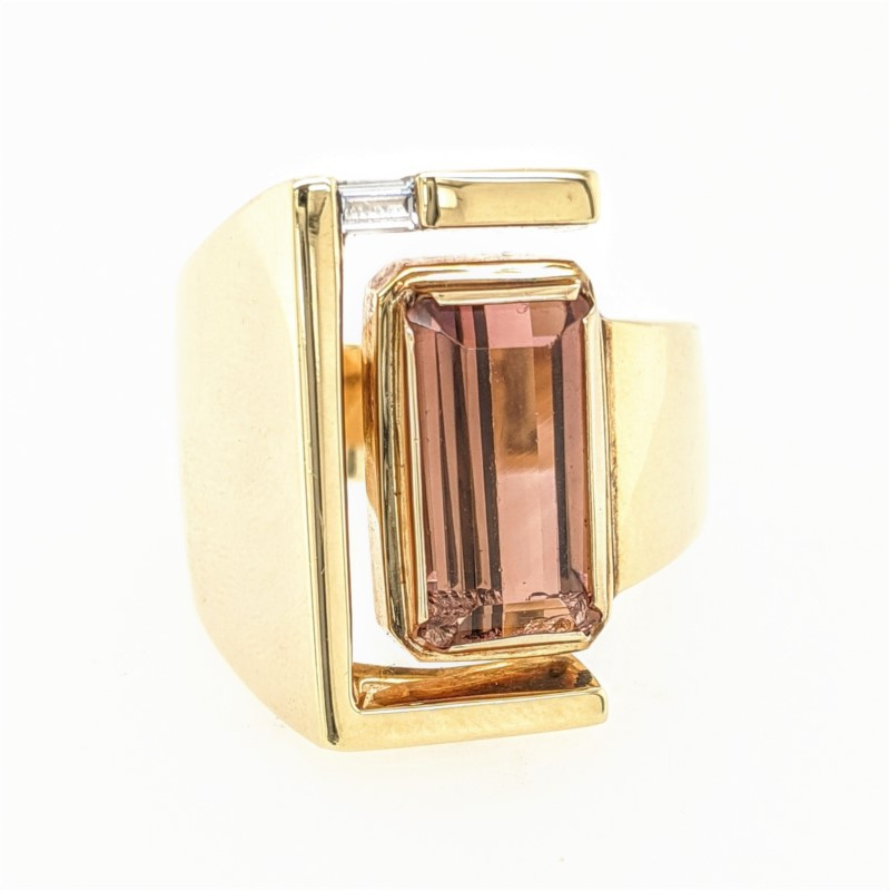 Pink Tourmaline Geometric Ring