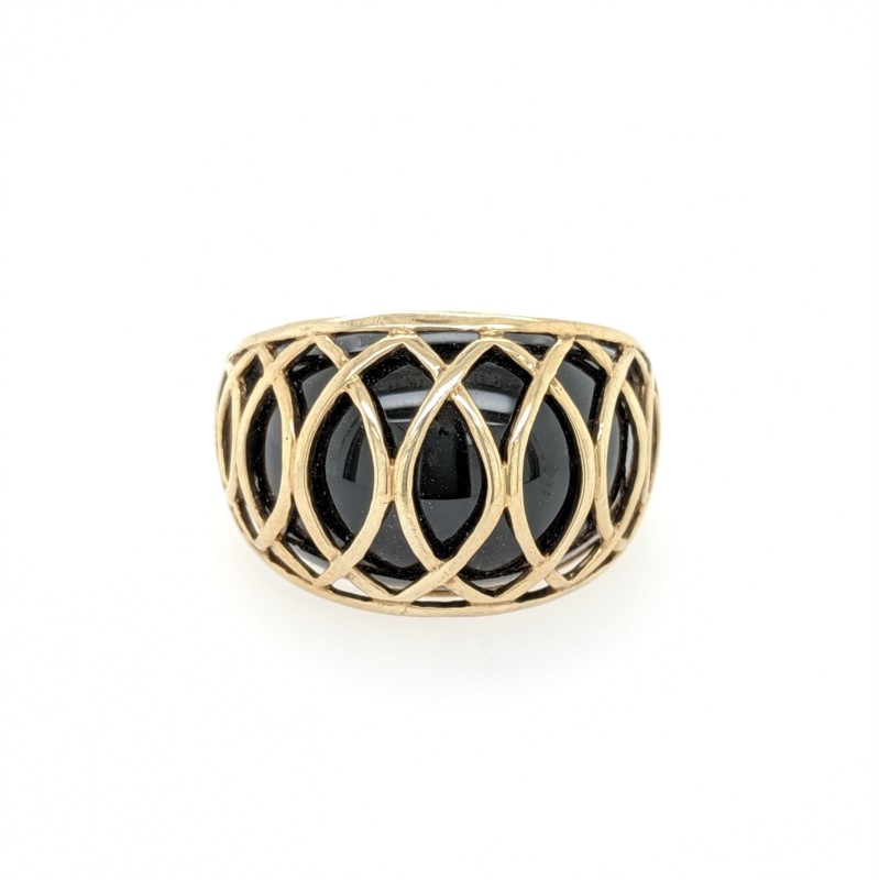 Black Stone Dome Ring
