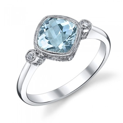 Cushion Aquamarine Ring