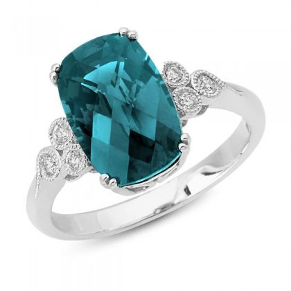 Cushion Blue Topaz Ring