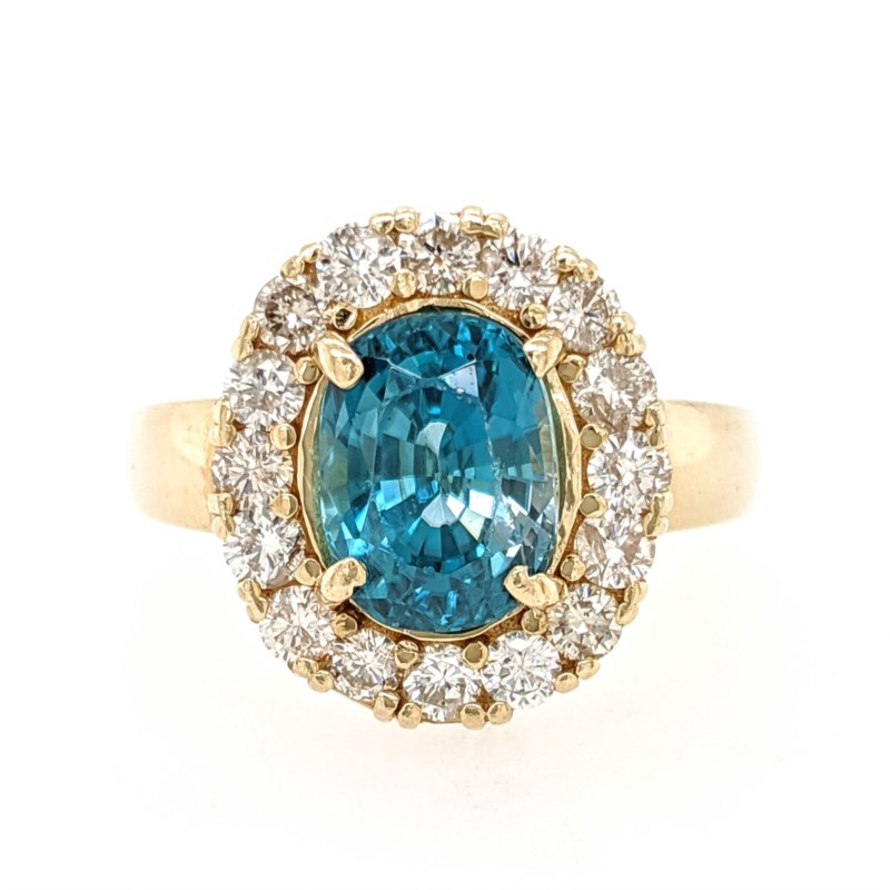 Blue Zircon Halo Ring