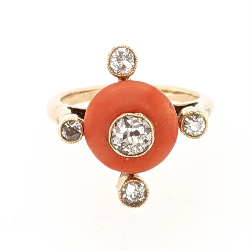 Coral & Diamond Ring
