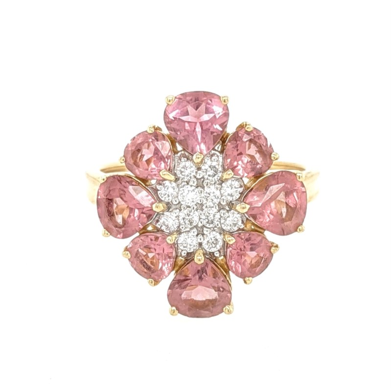 Pink Tourmaline & Diamond Flower Ring