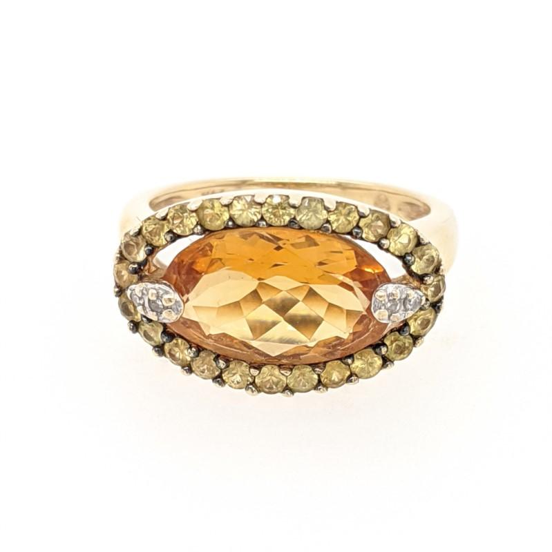 Citrine, Sapphire, & Diamond Ring