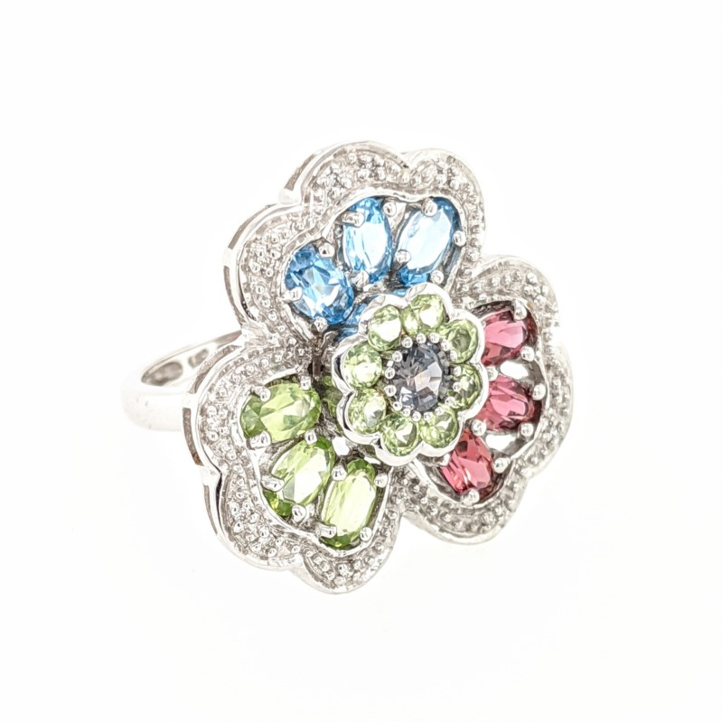 Multi Stone Flower Ring