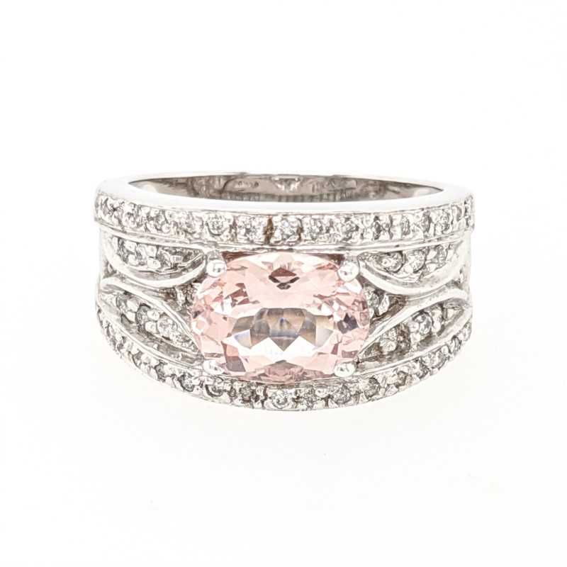 Morganite & Diamond Band