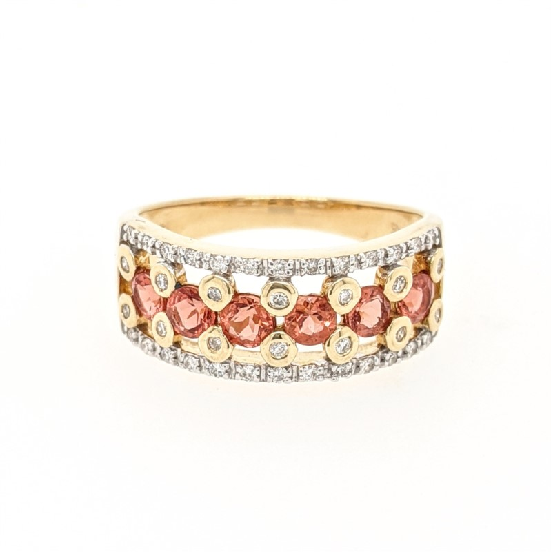 Sunstone & Diamond Ring