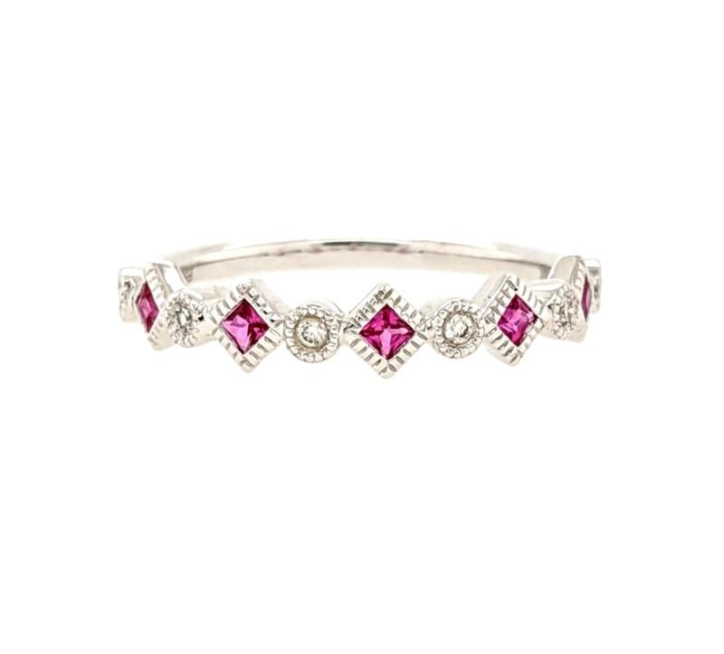 Ruby and Diamond Geometric Band