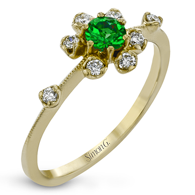 Green Garnet Flower Ring