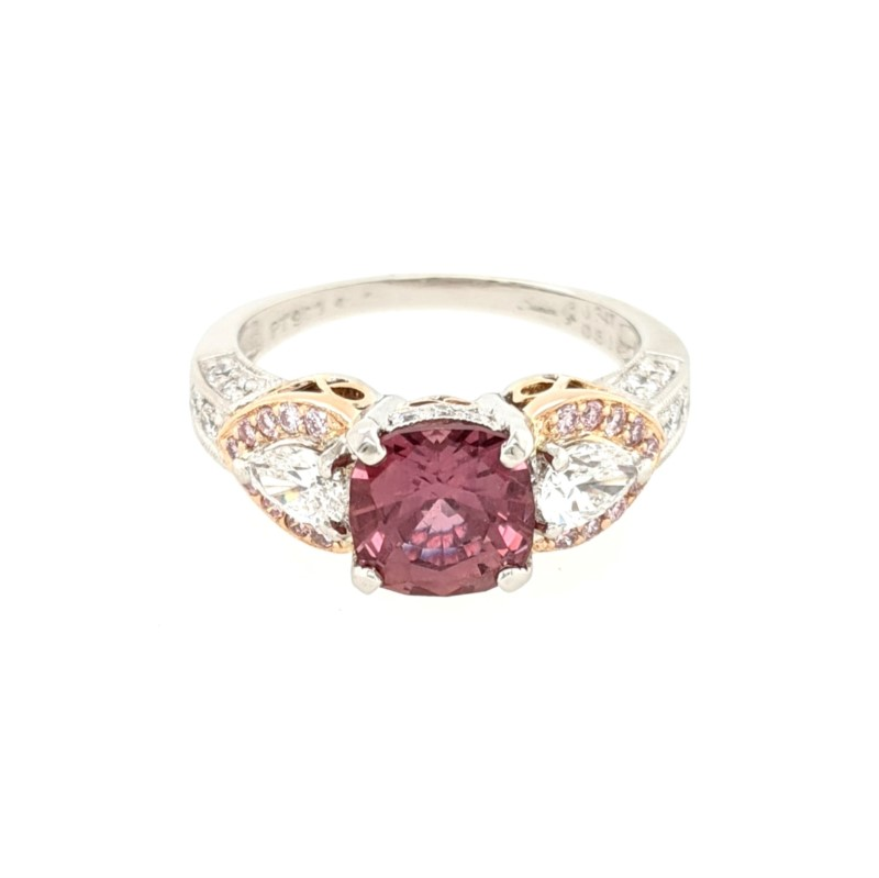 Red Sapphire and Diamond Ring