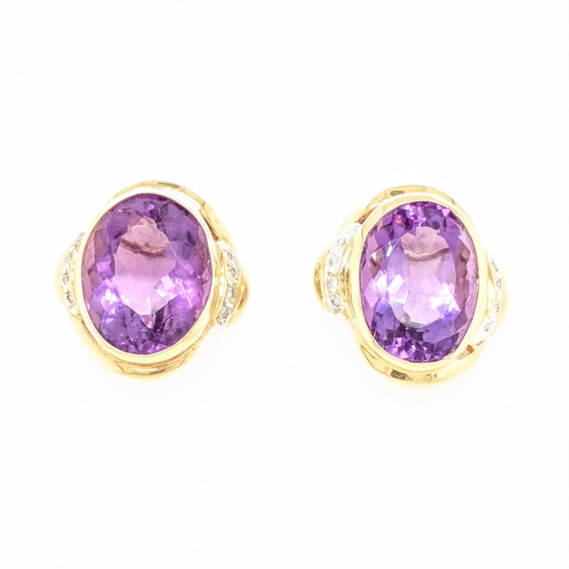 Bezel Amethyst Earrings