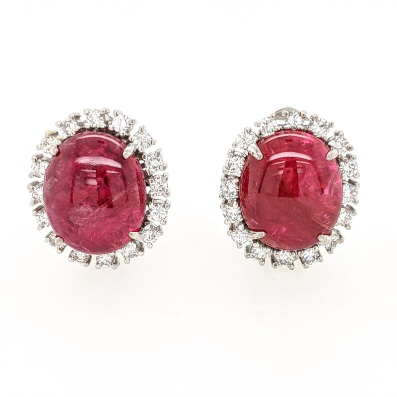 Pink Tourmaline Cabachon Earrings