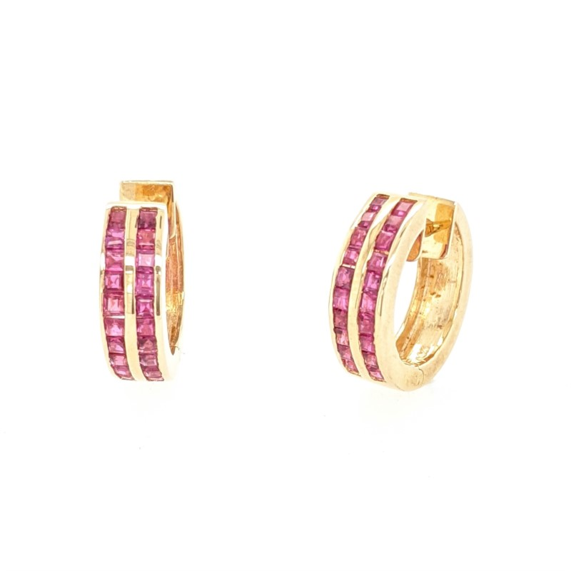 Ruby Channel Hoop Earrings