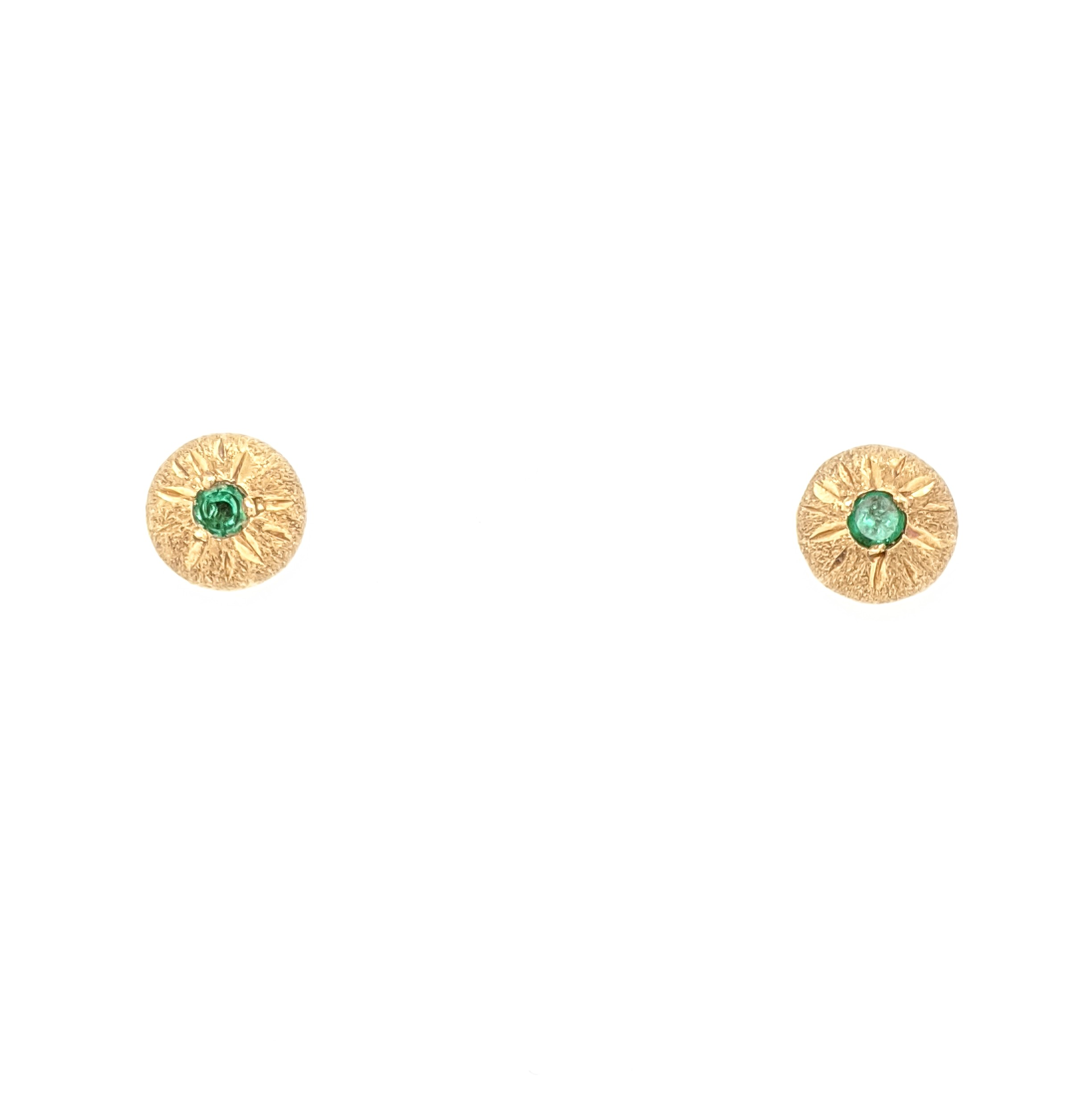 Textured Emerald Stud Earrings