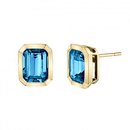 Blue Topaz Bezel Earrings