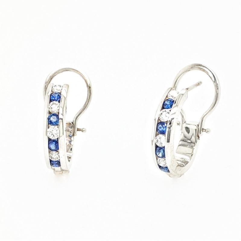Sapphire & Diamond Hoops