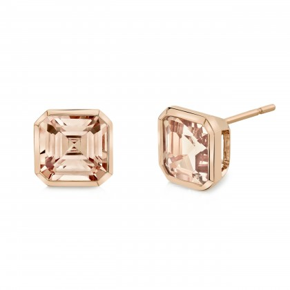 Morganite Bezel Earrings