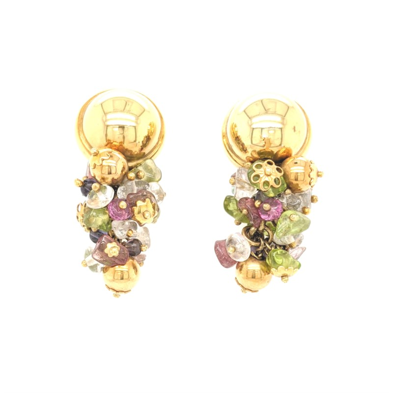 Multi Gemstone Drop Earrings