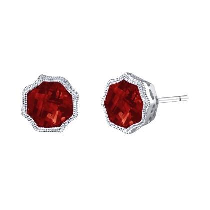 Garnet Fancy Bezel Earrings