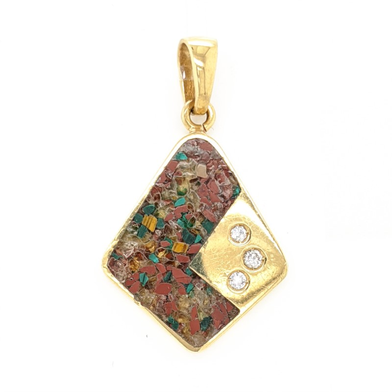 Mosaic Inlay & Diamond Pendant