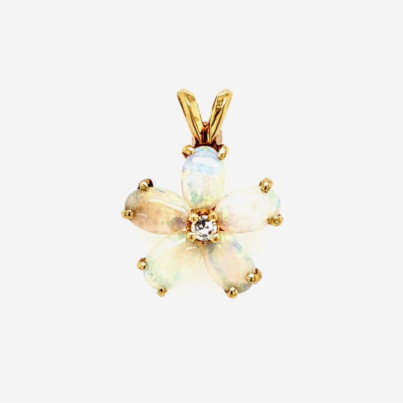 Opal and Diamond Floral Pendant