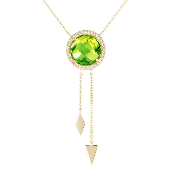 Peridot & Diamond Y Necklace