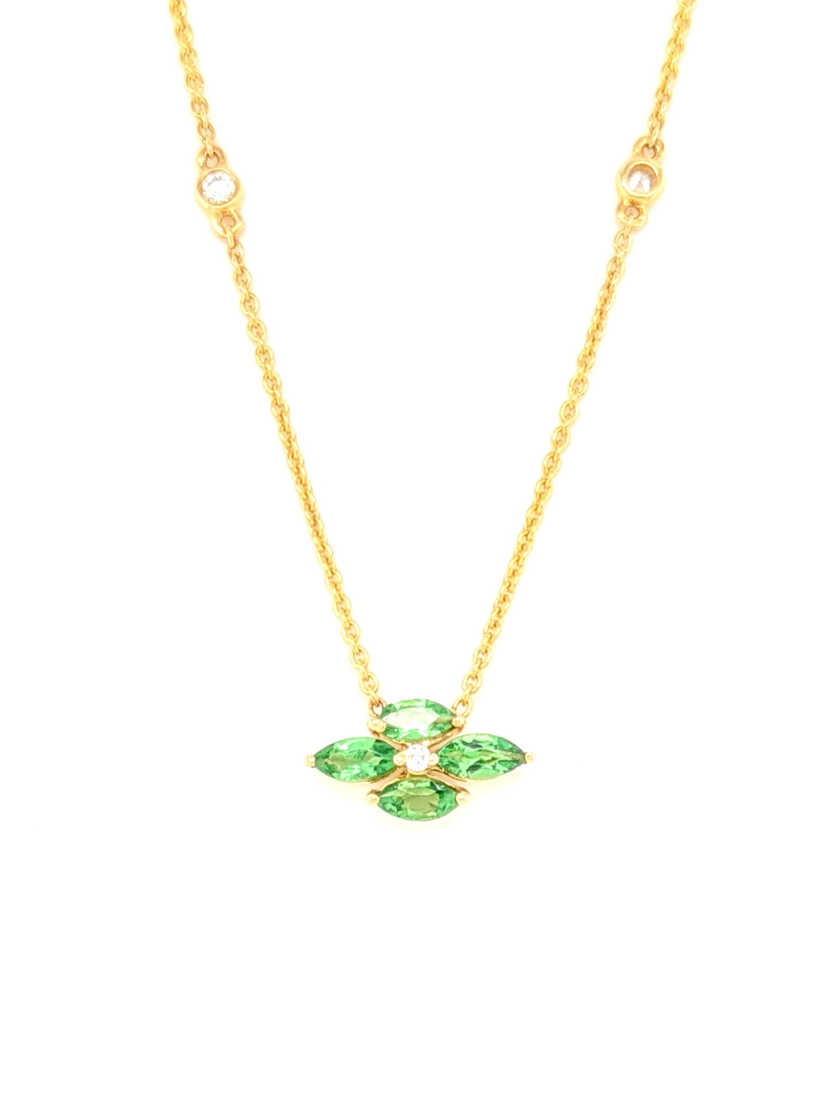 Diamond and Tsavorite Floral Necklace