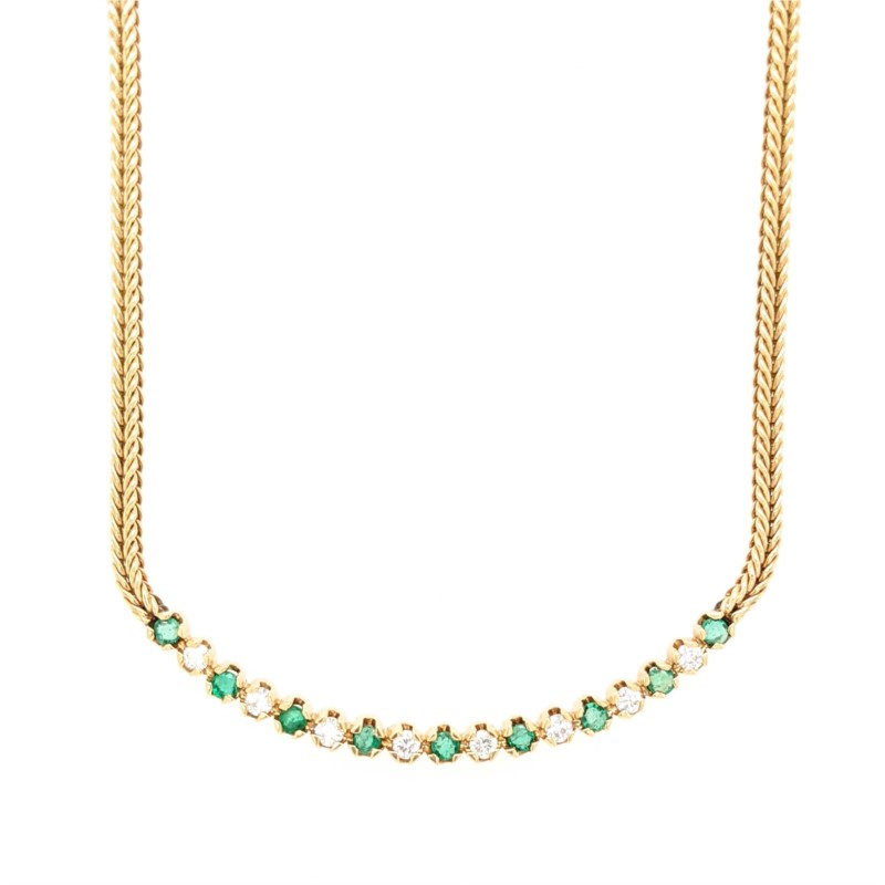 Emerald & Diamond Curved Bar Necklace