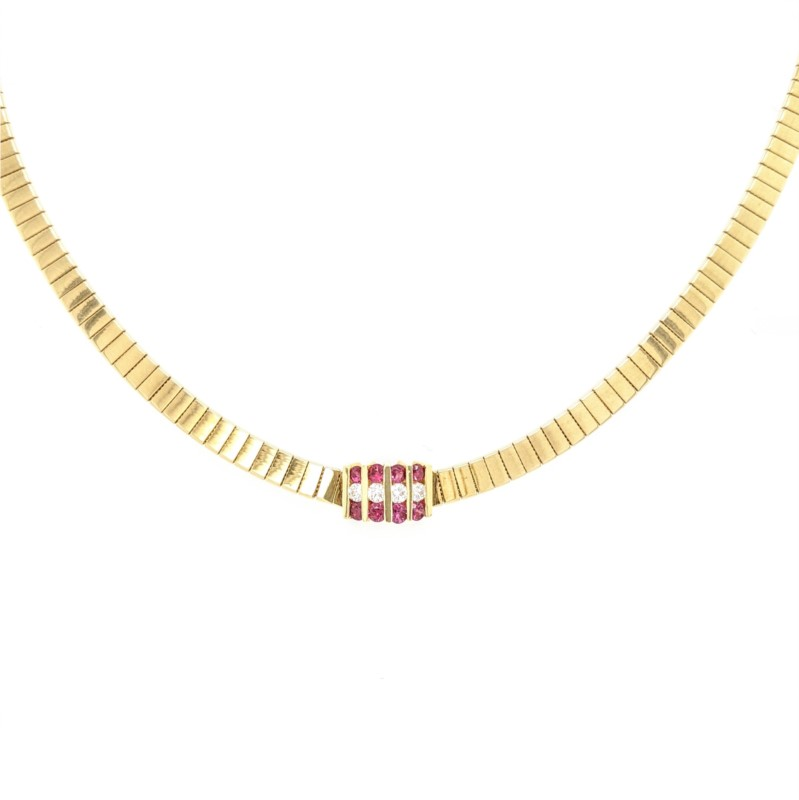 Ruby & Diamond Omega Necklace