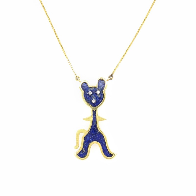 Lapis Bear Necklace