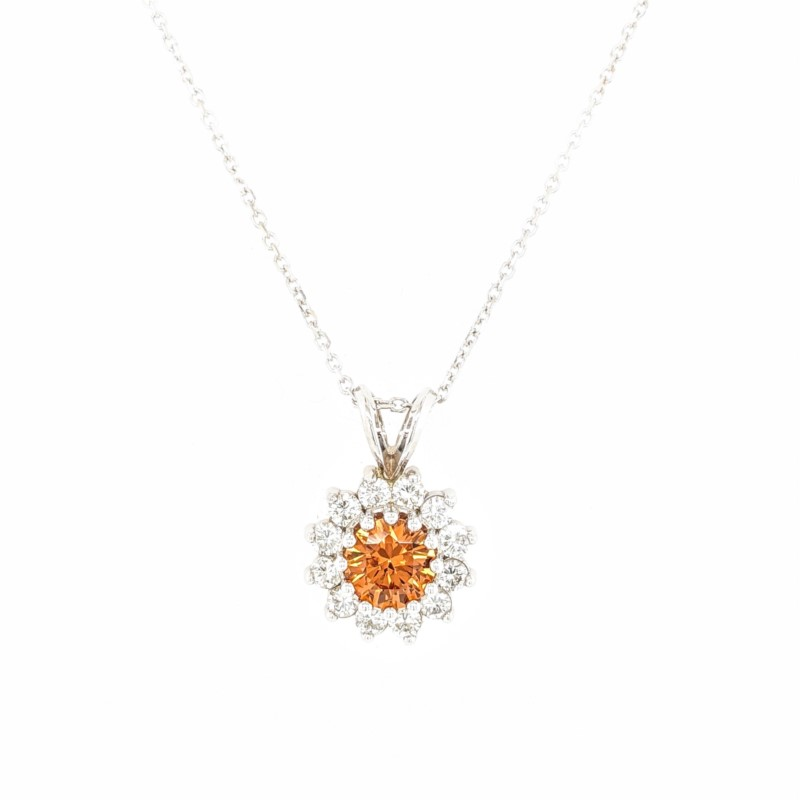 Spessartite and Diamond Necklace