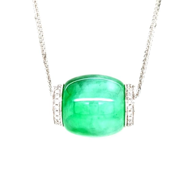 Green Jadeite Barrel Necklace