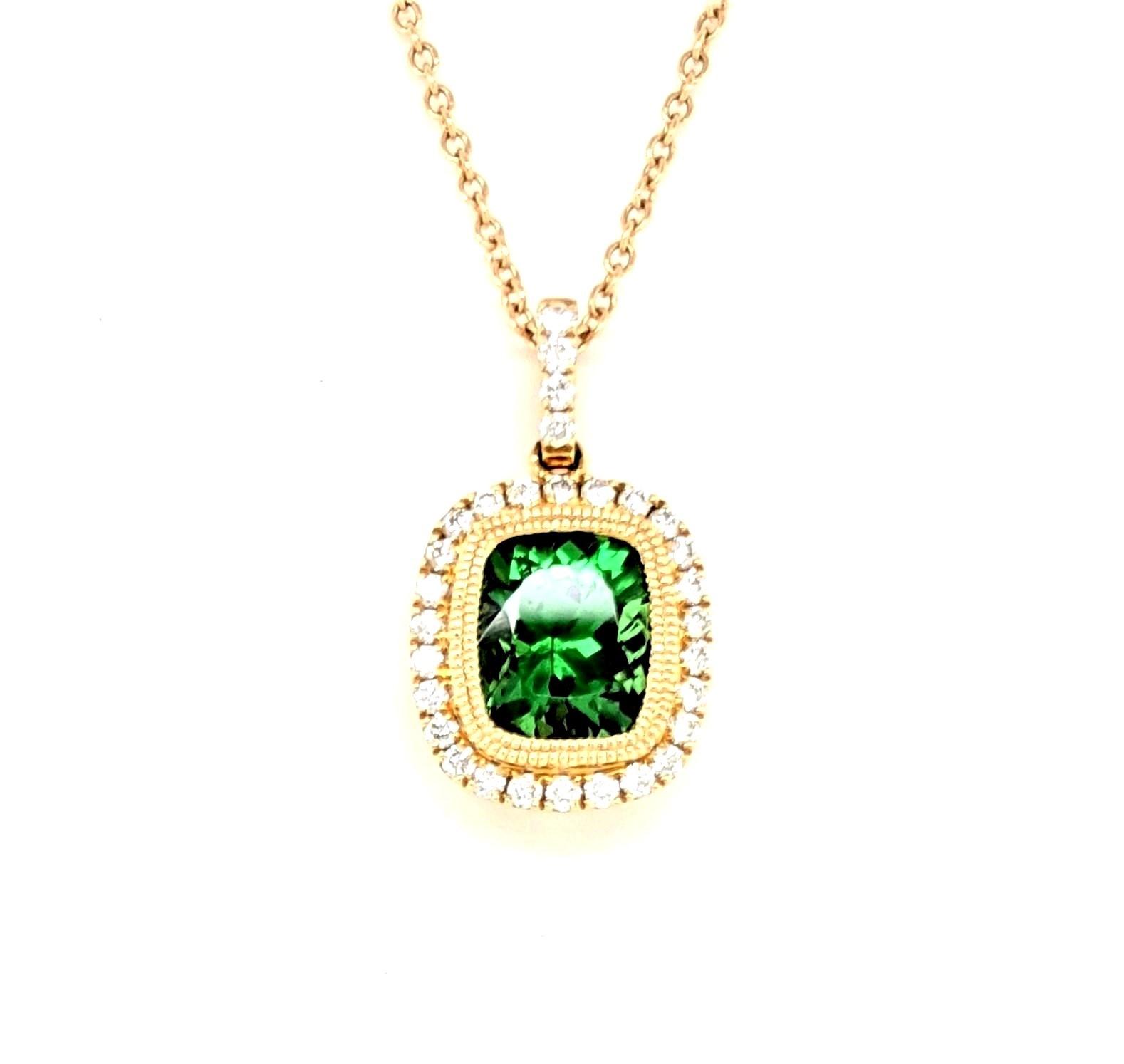 Tsavorite and Diamond Necklace