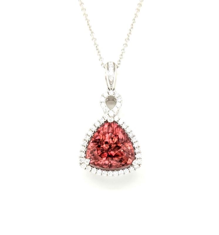 Spice Zircon and Diamond Necklace