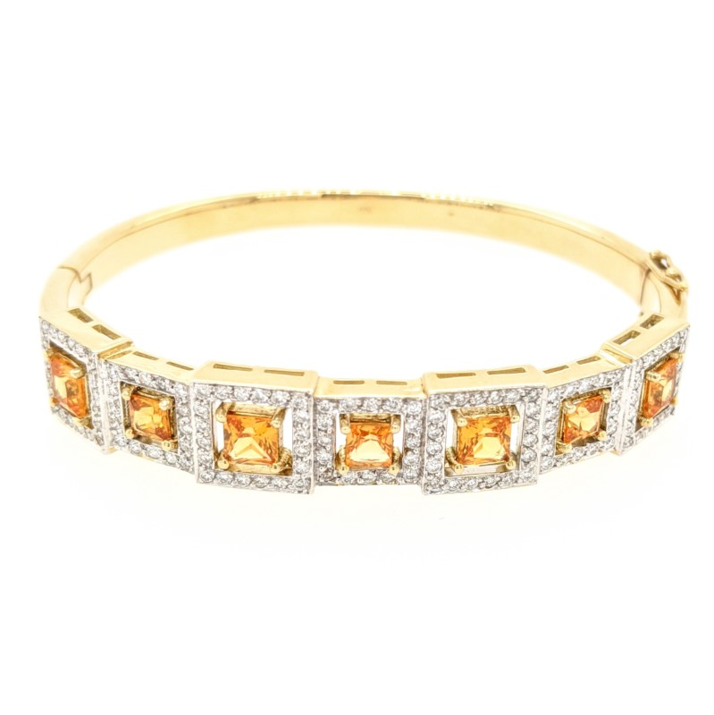 Orange Sapphire & Diamond Bangle