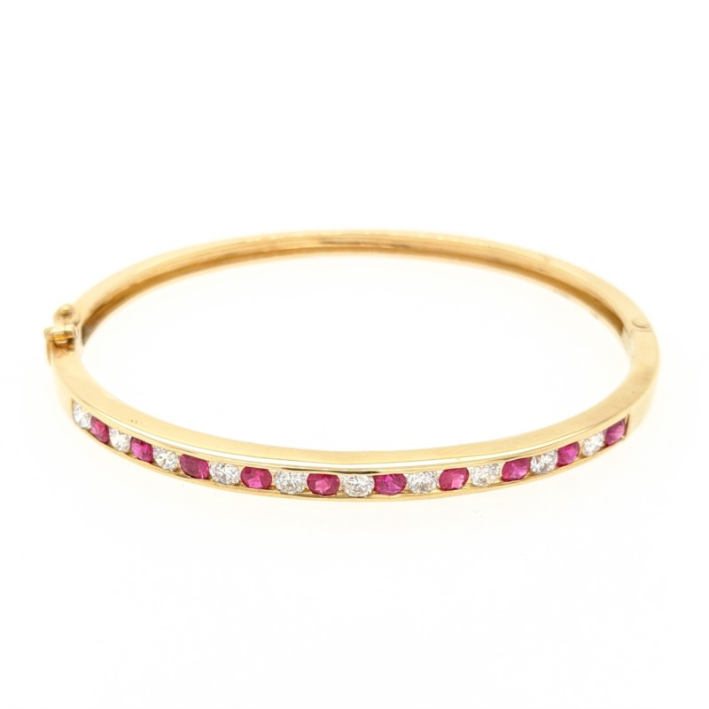 Ruby & Diamond Channel Bangle