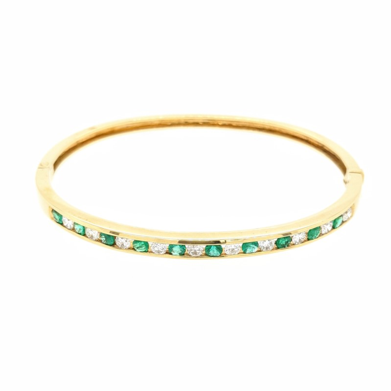 Emerald & Diamond Channel Bangle